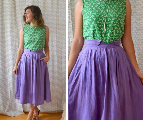 Vinyard Stroll Skirt | vintage 70's does 40's purple pocket skirt | notch waist | small