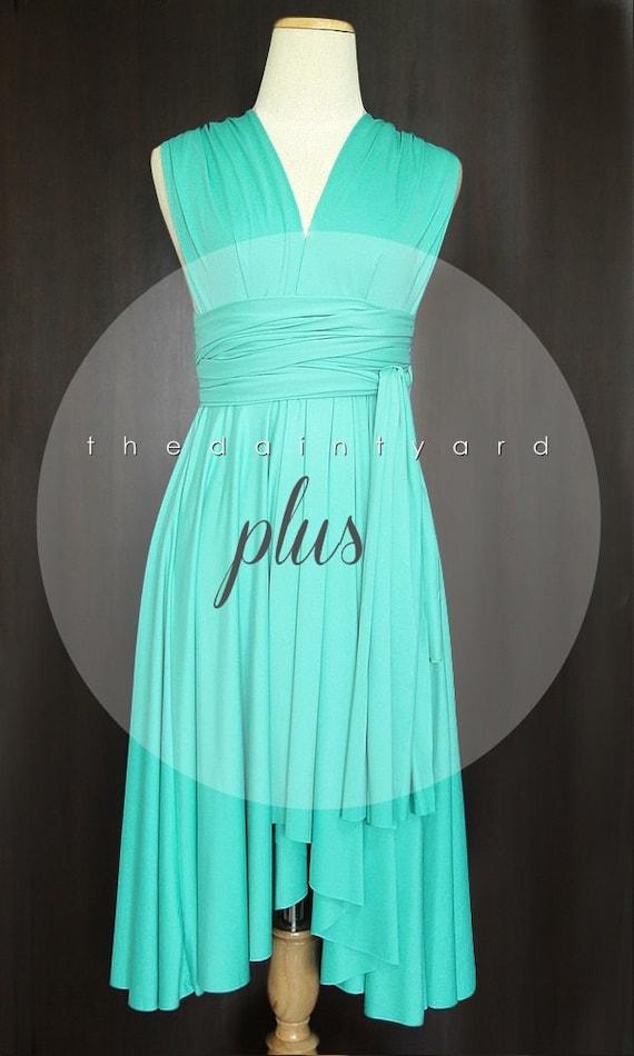 Plus Size Turquoise Bridesmaid Dress Convertible Dress