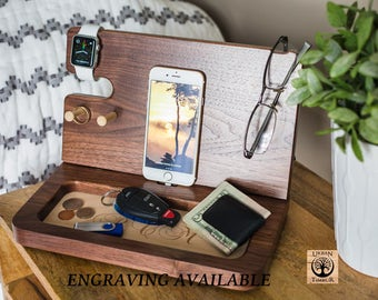 Men's Valet Tray, PERSONALIZED GIFT, gift for men, wood docking station, Unique Mens Gifts, gift ideas for men, Docking Station, Iphone dock
