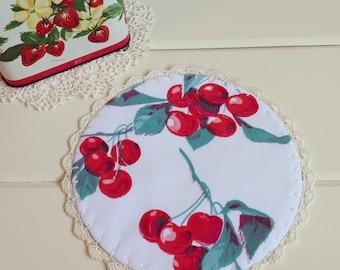 sweet vintage cherries doily
