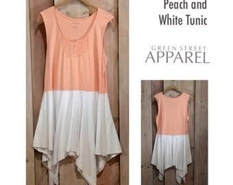 Peach White Knit Tunic, Upcycled Clothing, Refashioned Clothing, Flowy Tunic, Boho Tunic, Festival Wear,  Lagenlook Tunic, Artsy Tunic