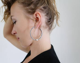 Oxidized Hammered Silver Hoop Earrings with White Keshi Pearl