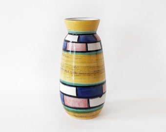 Vintage Vase West German Pottery in Yellow Blue Pink and White Big Size