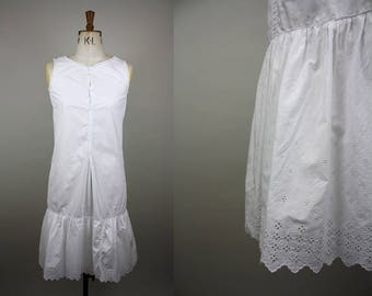 1920s Cotton Nightgown / 20s Cotton Slip / Antique Petticoat / Broderie Anglaise / Flapper Lingerie / Size Small / S M
