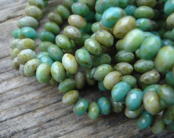 5x3 green turquoise mix Czech glass rondelle beads with picasso finish