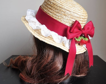 Strawberry Country Straw Boater Hat