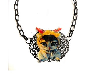 Little Cat, Kawaii, kitch, Goth, Gothic style, Christmas Cat, Cat with Horns, Statement Collar Necklace, Cute, Humor, fun jewelry