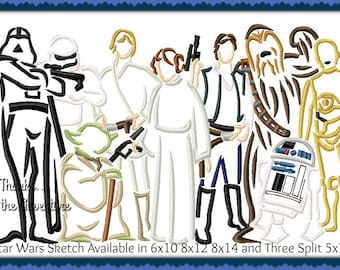 Disney Star Wars Darth Vader Princess Leia Yoda Luke Skywalker Han Solo Chewbacca R2D2 C3p0 Sketch Digital Embroidery Machine Design