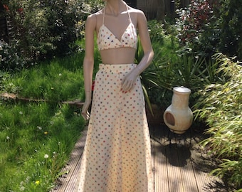 """Original and RARE 70s """"The Strawberry Plant"""" of California printed maxi skirt and bra top two-piece set UK 8 10 S M US 2 4 6"""