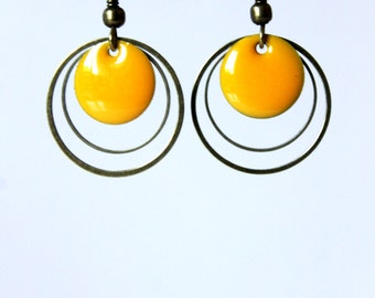 Sunshine yellow enameled sequin earrings