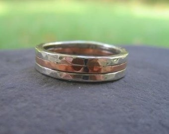 mans wedding band . mixed metal wedding band. sterling silver & copper . (( Triad Hammered Band )) . rustic wedding band . rustic mans ring