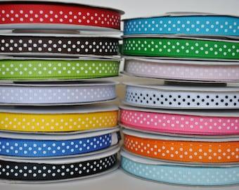 "28y - 3/8"" grosgrain ribbon swiss dot or polka dot ribbon"