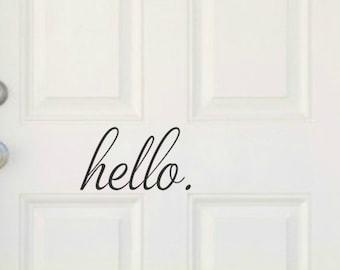 Hello Door Decal Hello Vinyl Decal Hello Decal Vinyl Door Decal Front Door Decal Door Sticker Decal For Door