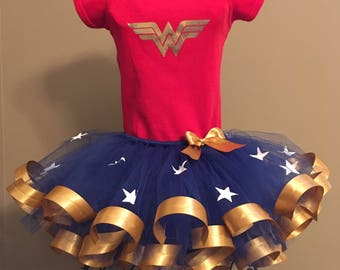 Wonder Woman Costume, Wonder Woman Red Onesie/Shirt and Blue/White Star Tutu with Gold Ribbon Outfit For Baby/Toddler/Girls