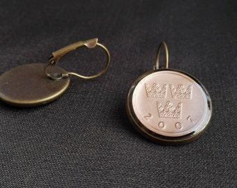Sweden Fashion, Sweden earrings, Handcrafted Jewelry, Earrings,  Sweden, Coin jewelry,  Crowns