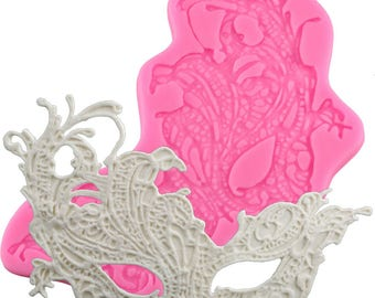 Masquerade Mask Silicone Mold - XL441 - Baking Fondant Happy Birthday Party Wedding Cake Bridal Baby Shower Ball