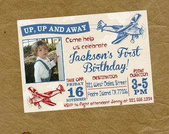 Airplane Birthday Party Invitation - Vintage Biplane Photo Invite - Digital Personalized File to Print