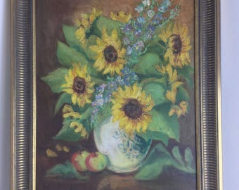 Sunflowers classic BOUQUET painting oil painting signed H hotel