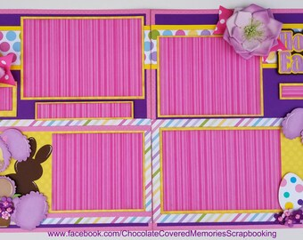 Hoppy Easter 12x12 Premade Two Page Scrapbook Layout Scrapbooking Paper Piecing