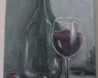 Original oil painting on canvas,wine.