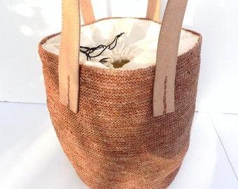 Tote bag, Tote, straw bag, bag, caramel, bucket bag, beach bag, shopping bag, / crochet bag/straw bag/handmade
