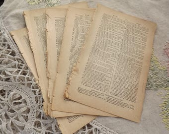 50 Antique French Dictionary Pages 1800s