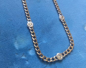 REDUCED  English 9K Gold Chain with 3 Diamonds in White Gold