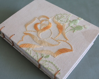 Tea Time Dyed Vintage Linen Hardcover Embroidered Journal 04 by PrairiePeasant