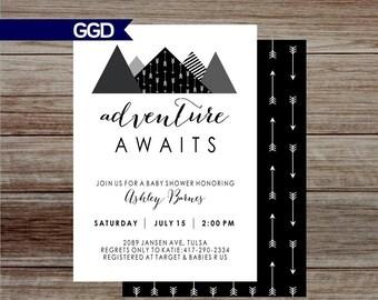 Adventure Baby Shower Invitation, adventure awaits baby shower, tribal baby shower, mountain baby shower