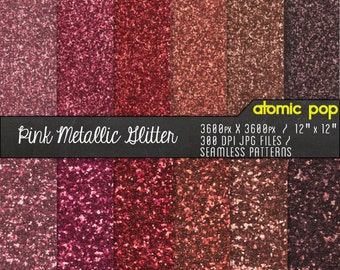 SALE Pink Metallic Glitter Digital Paper Pack// Instant Download for Decoupage, Scrapbooking, and Crafts // Copper, Gold, Pewter