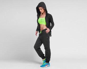 Women Track Pants, Women Joggers, Yoga Pants, Women Sweat Pants, Cotton Fitness Pants, Plus Size Workout Pants, Womens Activewear, Black