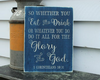 Do It All for the Glory of God 1 Corinthians 10:31 Carved Wooden Sign - 12x16 Distressed Bible Verse Wood Sign