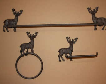 3 pieces) Buck bath decor, hunting lodge decor, free shipping, toilet paper holder, towel ring, rustic brown, deer bath, BS-1,2,3