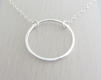 """Sterling Silver Circle Necklace, Single Ring Necklace, Eternity Ring Necklace, Infinity Circle Necklace, 1"""" Circle Ring, 25mm Circle Ring"""