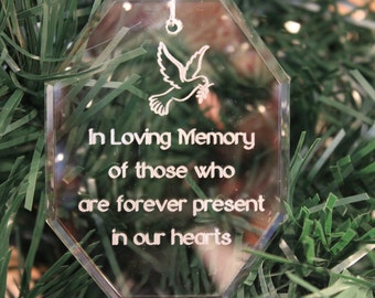 Premier Memorial Crystal Christmas Ornament with a Dove, Engraved Christams Ornament
