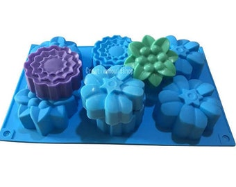 Candle Candy Chocolate Cake Fimo Resin Craft DIY Cake Mold Soap Mould 6-Mix Flowers Flexible Silicone Mold