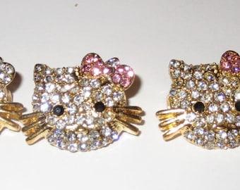 17x24 MM Hello Kitty Gold Plated Clear Rhinestone Charm