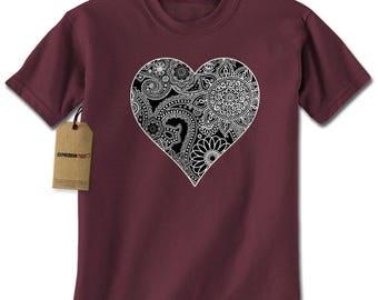 Heart Indian Mandala Mens T-shirt