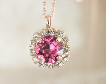 Crystal pendant necklace,Swarovski necklace,pink necklace,Swarovski Rose,Pink crystal necklace,gift,prom jewelry,prom,pink jewelry,wedding