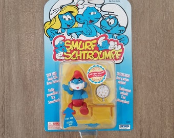 Papa Smurf Popcorn New in Box, Smurfs, Vintage Smurf Figurines, Rare Smurfs Collectibles, Smurf Village Papa Smurf, moveable arm action toy