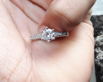 Handmade Jewelry, 925 Sterling Silver, Cubic Zircon, 5 MM Round, All Sizes, Gift For Her Zircon Ring, Promise Ring, Cut Round