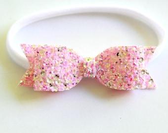Pink Lemonade Glitter Bow Headband - Baby Bow Headband - Glitter Bow Headband - Pink Bow Headband - Glitter Bow Hair Clip