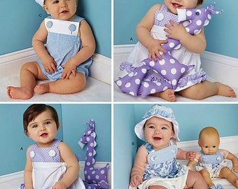 Infants' Romper Pattern, Barefoot Sandals Pattern, Baby Sundress Pattern, Sz 7 to 24 lbs, Simplicity Sewing Pattern 1378