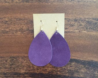 Deep Plum Suede Earrings