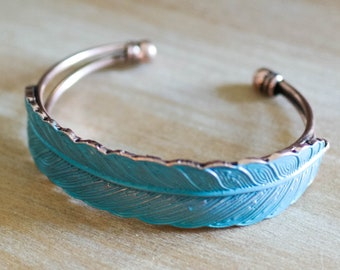 Turquoise Leaf Cuff || Be Collection || Bronze Cuff || Tribal Cuff