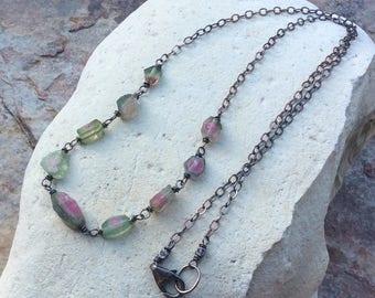 WATERMELON Tourmaline necklace, Tourmaline nugget necklace, gemstone jewelry, handmade by AngryHairJewelry, artisan made