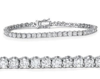 "4.00Ct Diamond Tennis Bracelet 14K White Gold Womens 7"""