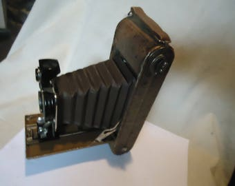 Vintage Ansco 1a Readyset Folding Camera With Ostrich Covering, collectable
