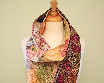 Multi Print Long Fabric Scarf, Double Sided, Endless Scarf, Paris Post Cards, Leaves, Multicolor Flowers