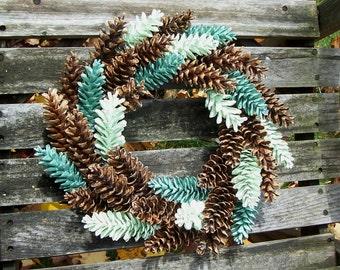 Pine Cone Wreath, White Pine. Green. Door Wreath, Wall Decor, Gifts,  Pinecone Wreath, Front Door Wreath.